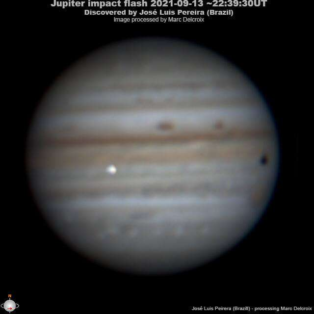 Einschlag auf Jupiter am 13. September 2021 durch den brasilianischen Amateurastronomen Jose Luis Pereira.  Bild bearbeitet von Marc Delcroix.  © Jose Luis Pereira und Marc Delcroix.