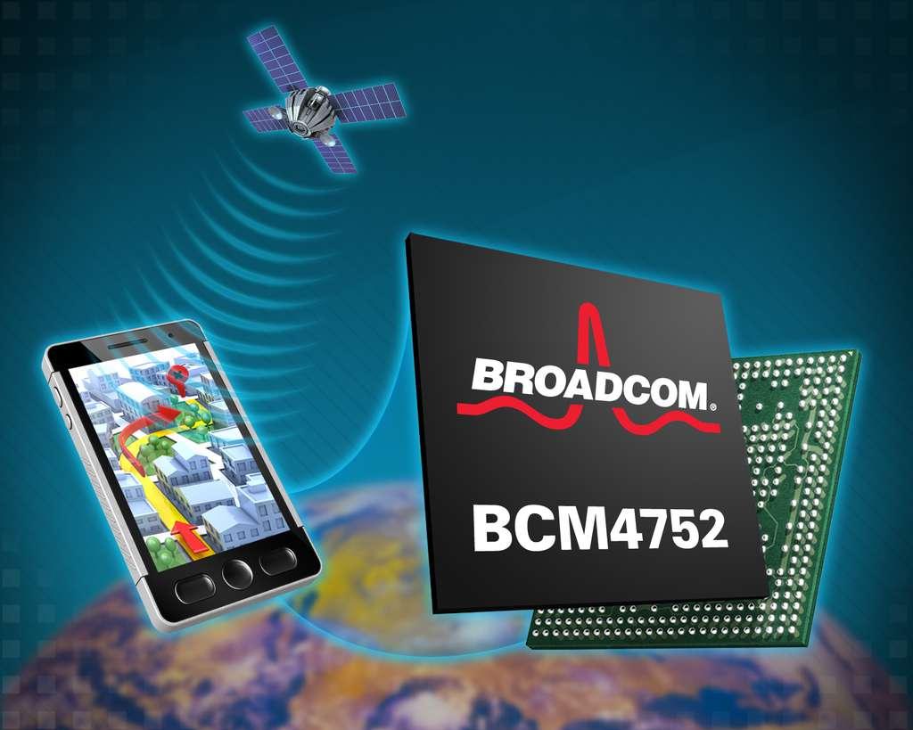 La puce BCM4752 peut recevoir les signaux des principaux systèmes de localisation par satellites, gagnant ainsi en précision et en vitesse de connexion. © Broadcom
