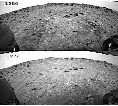 Spectaculaire : il aura suffi de 22 jours martiens pendant la tempête de 2007 pour effacer les traces du passage de Spirit. © Nasa/JPL/P. Geissler