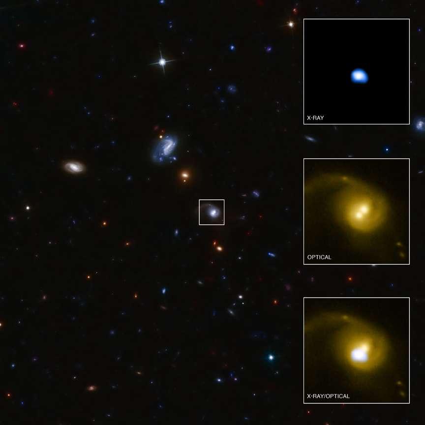 Cette image d'un champ de galaxies a été prise à l'aide du télescope CFHT dans le visible. Sur la droite, des zooms montrent dans le domaine des rayons X et dans le visible la galaxie contenant CID-42. © Rayon X : Nasa/CXC/SAO/F. Civano et al. ; visible : CFHT, Nasa/STScI