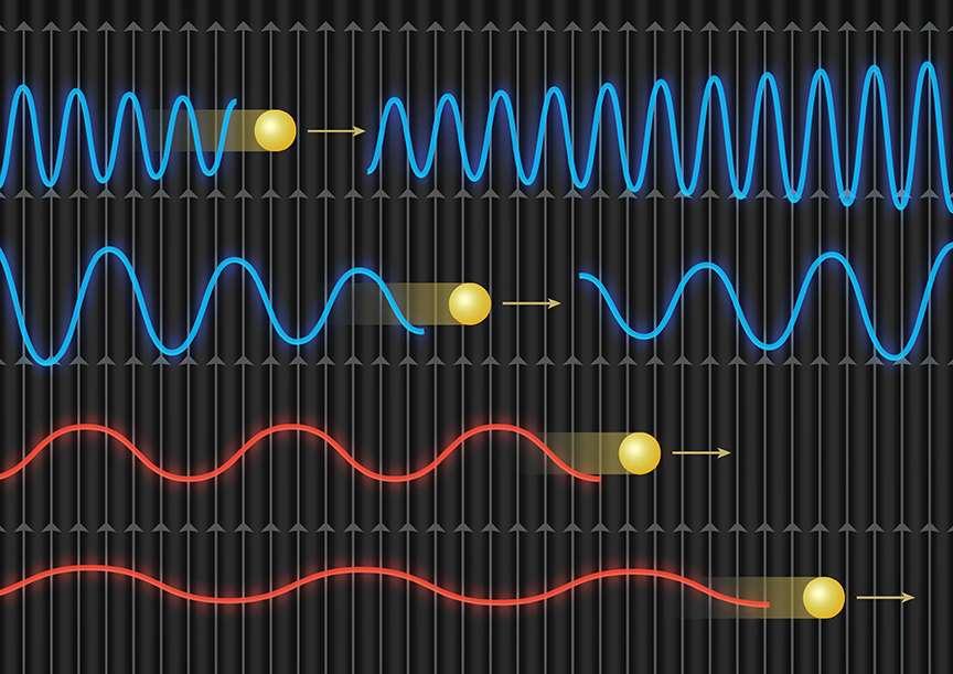 Un schéma illustrant la méthode pour tenter de découvrir des axions dans un amas de galaxies. En gris, les lignes de champs magnétiques dans lesquelles se propagent des rayons X énergétiques à courtes longueurs d'onde (bleus) et des rayons X moins énergétiques avec des longueurs d'onde plus longues (rouges). Les plus énergétiques donnent des axions (jaunes) qui se retransforment en photons X, en dessous d'une certaine énergie, les axions ne redeviennent pas des photons et le spectre initial en rayons X est donc appauvri, distordu, aux basses énergies. © Amanda Smith/Institute of Astronomy/University of Cambridge