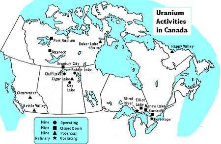 Carte de l'uranium au Canada. Les mines en activité sont marquées d'un rond, celles qui ont été fermées d'un carré et les sites potentiels d'un triangle. Les étoiles figurent les sites de raffinage en activité. © DR