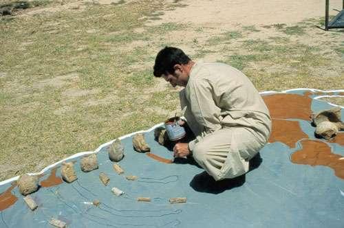 Le squelette composite ainsi reconstitué est enfin photographié depuis le toit de la Guest House. © 1999 MPFB (MB, LM, JLW)