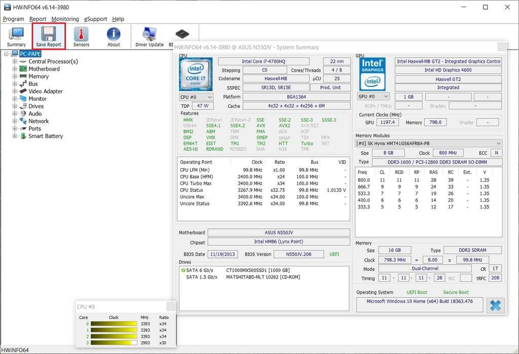 Fenêtre principale du logiciel HWiNFO. © HWiNFO