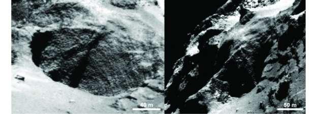 Exemple de trou circulaire observé sur le noyau de la comète Tchouri. L'augmentation du contraste révèle la présence d'activité. Image prise par la caméra Osiris-NAC, le 28 août 2014 depuis une distance de 60 km, avec une résolution spatiale de 1 mètre par pixel. © Esa, Rosetta, MPS, Osiris, MPS, UPD, LAM, IAA, SSO, INTA, UPM, DASP, IDA