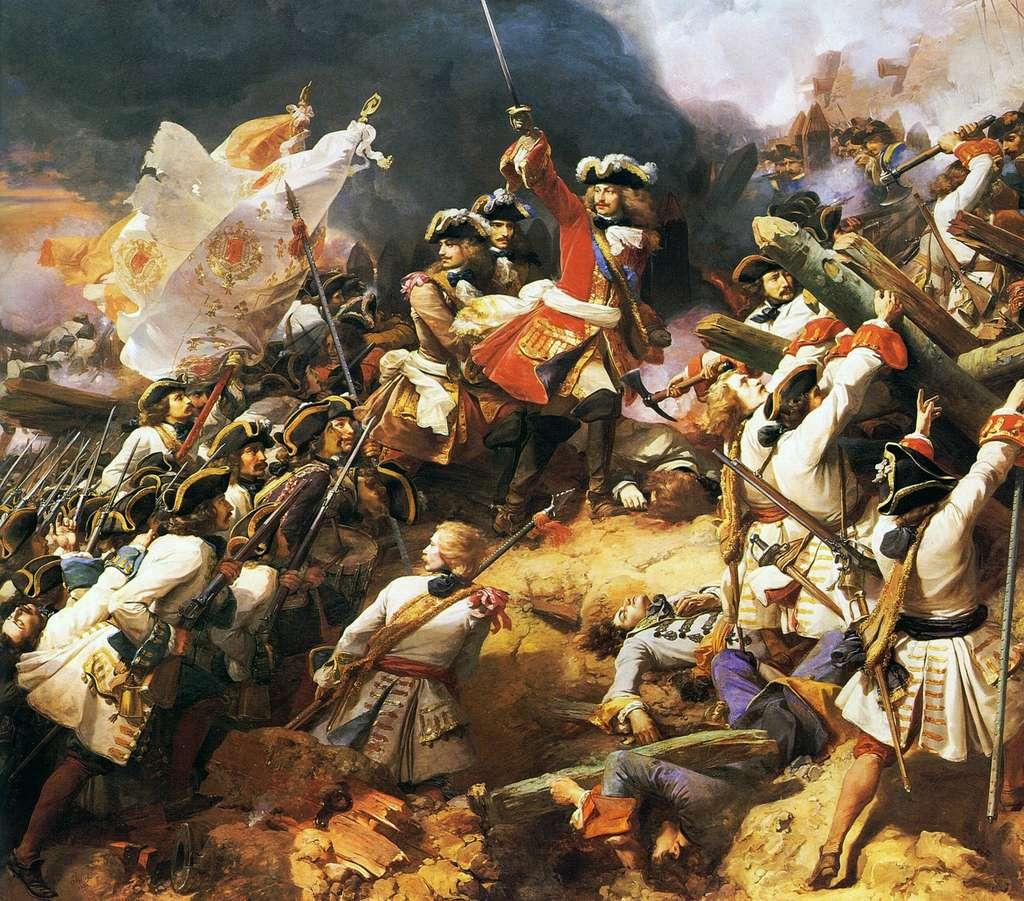 Bataille de Denain en 1712 : le duc de Villars, commandant l'armée royale, est victorieux du prince Eugène de Savoie (guerre de Succession d'Espagne), par Jean Alaux en 1839. Château de Versailles, Galerie des Batailles. © Wikimedia Commons, domaine public