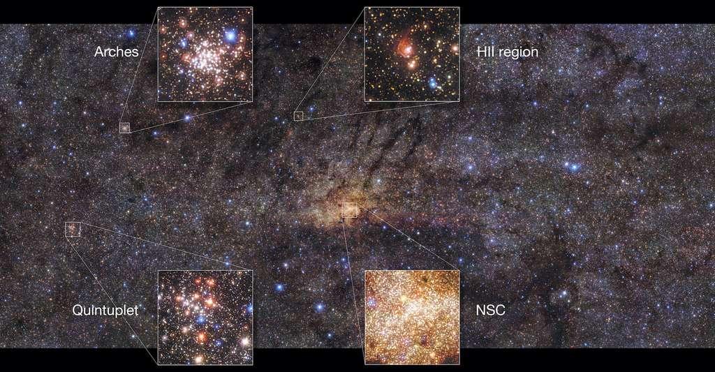 Cette belle image de la région centrale de la Voie lactée a été prise avec l'instrument HAWK-I du Very Large Telescope (VLT). Elle montre des caractéristiques intéressantes de cette partie de notre Galaxie. Elle met en évidence l'amas d'étoiles nucléaires (NSC) en plein centre et l'amas des Arches, l'amas d'étoiles le plus dense de la Voie lactée. Les autres caractéristiques comprennent l'amas du Quintuplet, qui contient cinq étoiles proéminentes, et une région d'hydrogène gazeux ionisé (HII). © Nogueras-Lara et al., ESO