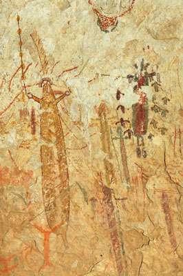 Peintures dans l'abri de Halo (Texas, Etats-Unis) réalisées dans un contexte chamanique. © Jean Clottes - Tous droits réservés