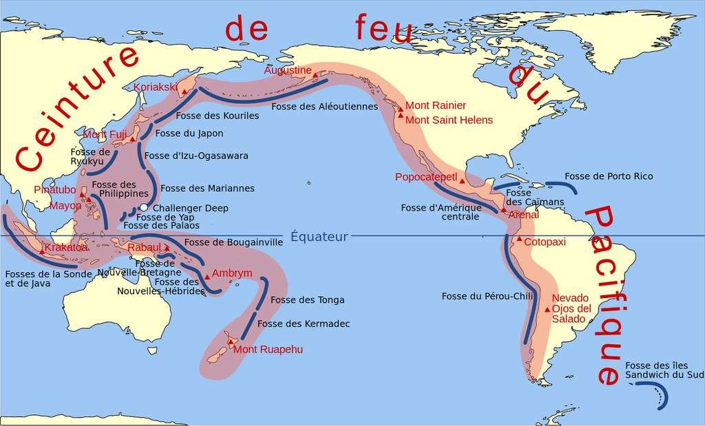Les séismes sont dus à une libération brusque d'énergie. Ces libérations ont lieu à 80 % dans la ceinture de feu du Pacifique. © Rémih, Wikipédia, CC by-sa 3.0
