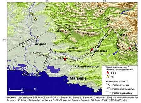 Figure 18 – Localisation des failles majeures de la Provence et des séismes historiques associés (étoiles). (©Carte L. Andréani, 2005).