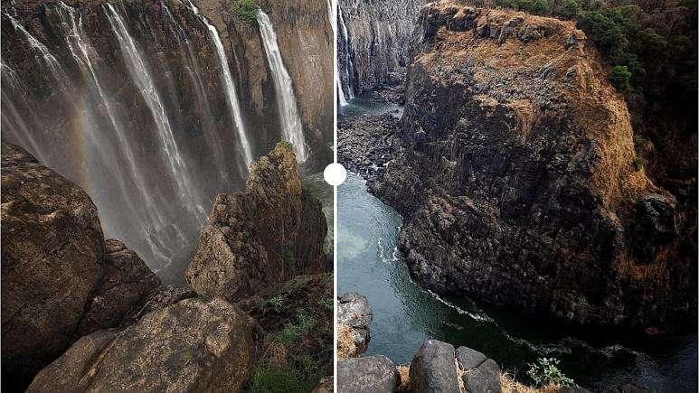 Désolante illustration de la situation actuelle des chutes Victoria : avant, à gauche ; après, à droite. © Natalia Liubchenkova, Template crédits, Photo slider by Flourish team