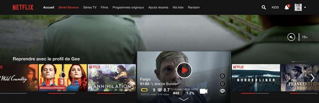 Intégration de SIMKL dans Netflix. © Futura