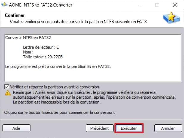 Utilisez la vérification et la réparation de la partition avant la conversion. © AOMEI