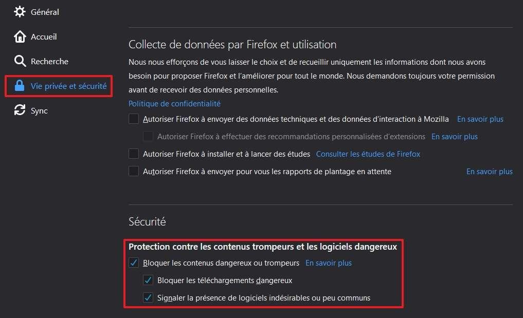 Mozilla Firefox intègre un outil de protection contre le phishing. © Mozilla Foundation