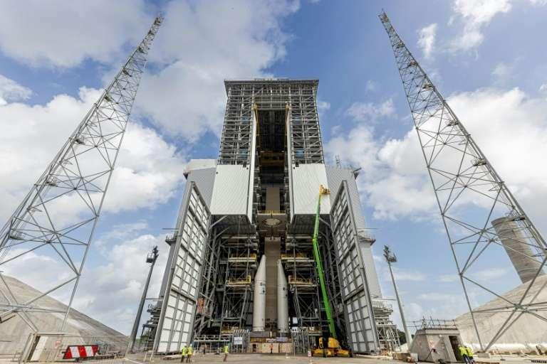 La rampe de lancement de la fusée Ariane 6 en construction à Kourou, au Centre spatial européen en Guyane, le 5 mars 2020. © Jody Amiet, AFP, Archives