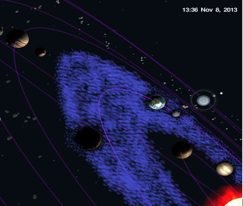 Le logiciel SkyOrb 3D permet de connaître la position des planètes, ici celles du Système solaire en date du 8 novembre 2013. En bleu, la habzone, ou zone d'habitabilité, où l'eau peut exister sous forme liquide. © Élisabeth Piotelat