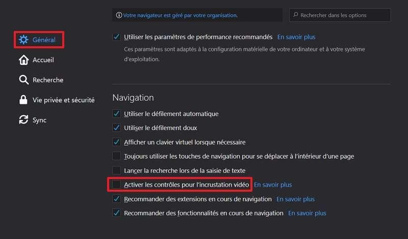 Décochez la case « Activer les contrôles pour l'incrustation vidéo ». © Mozilla Foundation