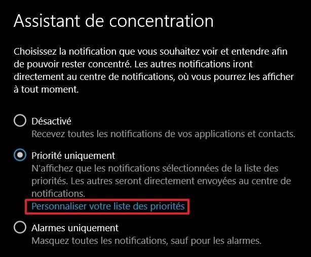 Activez l'assistant de concentration en mode « Priorité uniquement » ou « Alarmes uniquement ». © Microsoft