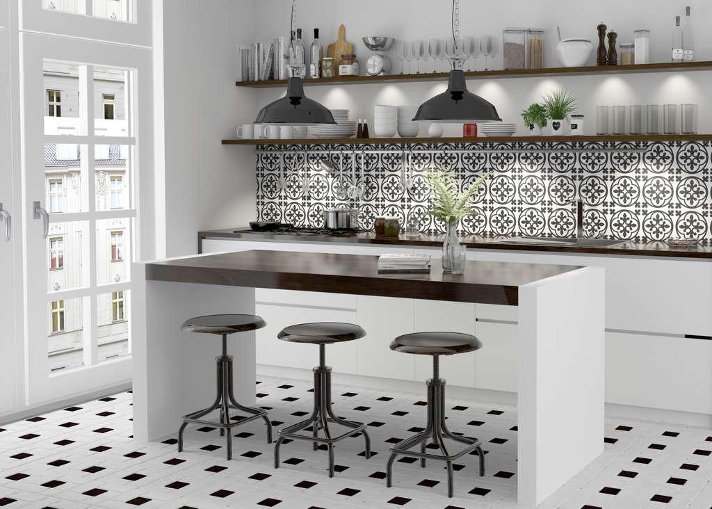 Le carrelage participe pour beaucoup à la décoration d'une cuisine. © deepvalley, Adobe Stock