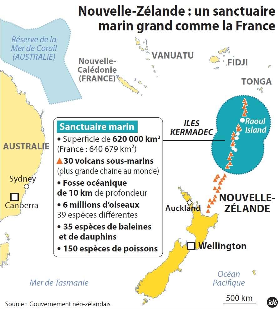 Entre la Nouvelle-Zélande, au sud, et les îles Fidji et Tonga, au nord, une vaste zone, biologiquement et géologiquement riche, sera bientôt exempte de toute activité humaine. © Idé