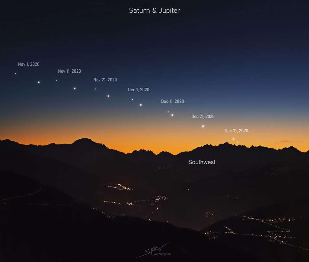 C'est pour bientôt ! Jupiter et Saturne se rapprochent l'une de l'autre pour la Grande Conjonction le soir du solstice d'hiver, le 21 décembre. © S. Voltmer, Apod (Nasa)