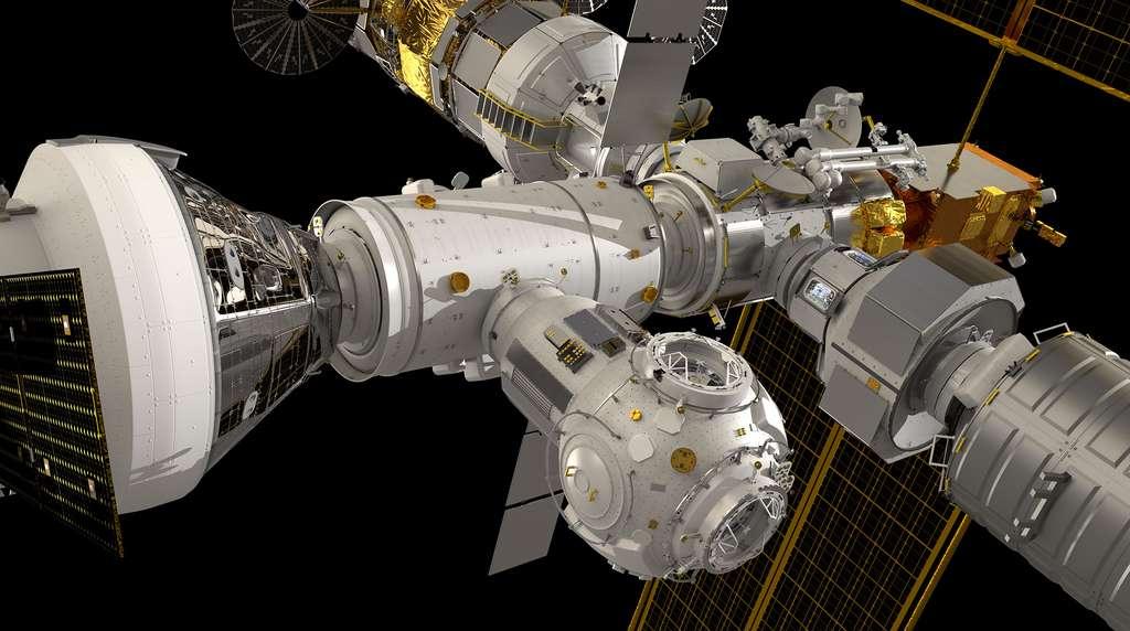 Le Gateway et ses différents modules dont ceux que réalisera Thales Alenia Space (l'Américain Halo et les Européens Esprit et I-Hab). © Esa
