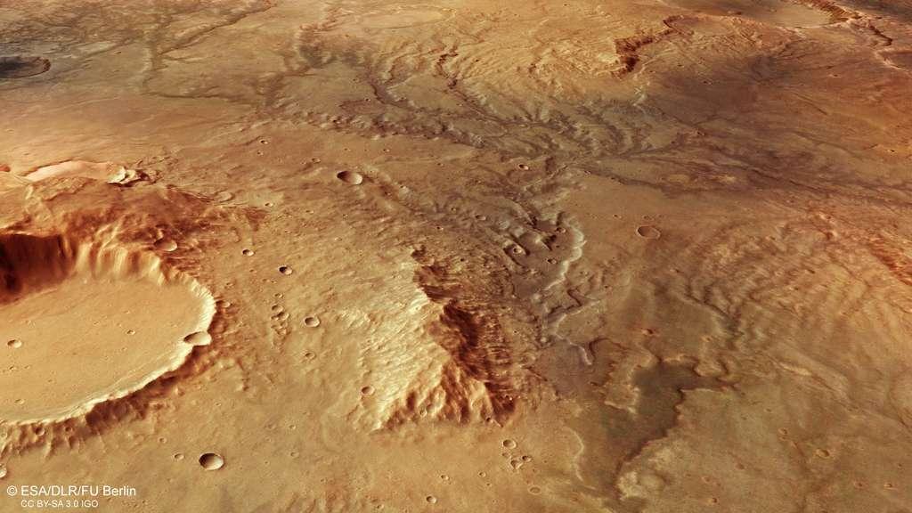 Vue en perspective d'une ancienne vallée fluviale observée par Mars Express dans l'hémisphère sud de Mars. © ESA, DLR, FU Berlin, CC by-sa 3.0 IGO