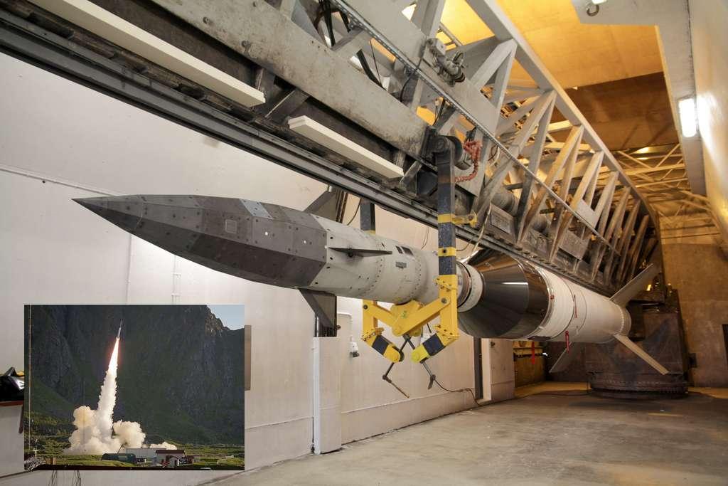 Le démonstrateur Shefex II et son bouclier thermique à arêtes vives à l'extrémité de sa fusée. © Agence spatiale allemande (DLR)