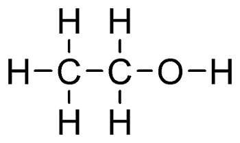 L'éthanol, de formule brute C2H6O, est l'alcool le plus connu : on le consomme en boisson. © Wikimedia Commons