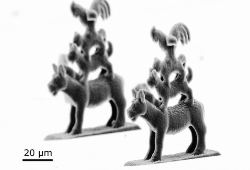Des sculptures en stéréographie micrométrique représentant la statue des Animaux musiciens de Brême . © Nanoscribe GmbH