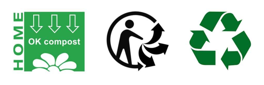 De gauche à droite : le logo « ok compost - home », le logo triman, et l'anneau de Möbius.