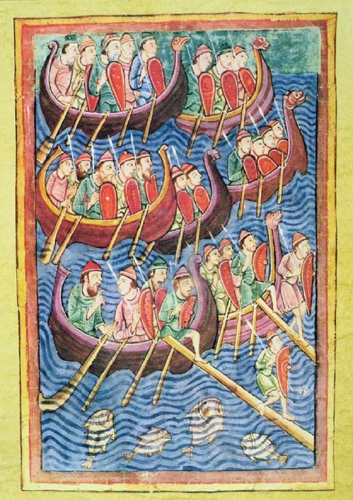 """Enluminure : débarquement d'une flotte viking en Angleterre, fin IXe siècle ; manuscrit """"Anglo-Saxon Chronicle"""", Xe siècle. Bymuseum, Oslo, Norvège. © Bridgeman Images."""