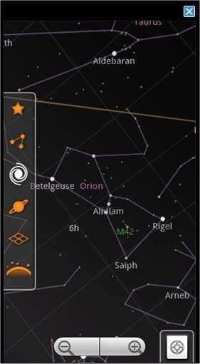 Google Sky Map, planétarium, éphéméride et guide du ciel affichant le nom des astres par pointage direct de la voûte céleste, à la façon « réalité augmentée ». © Google