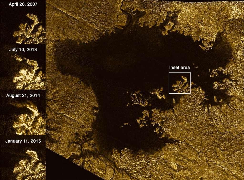 Image radar de la mer d'hydrocarbures Ligeia Mare qui se situe dans la région polaire nord de Titan. Sur la gauche, des images de la région indiquée par le carré « Inset area » sont reportées. Elles ont été réalisées lors de survols (flybys) de Cassini allant d'avril 2007 à janvier 2015. On peut y voir clairement l'apparition puis la disparition d'une « Magic Island » à la surface de Ligeia Mare. © Nasa, JPL-Caltech, ASI, Cornell