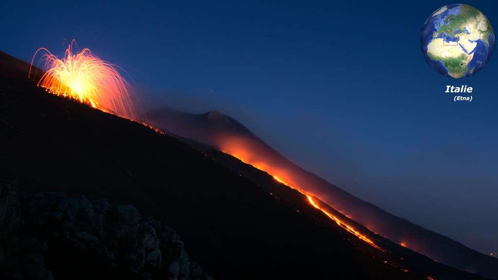 L'Etna, un volcan italien toujours très actif, en Sicile