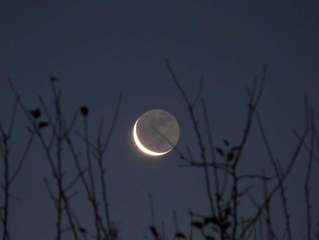 La lumière cendrée ou clair de Terre est le reflet de la lumière terrestre sur le reste du disque lunaire. C'est son étude qui permet de retrouver les biosignatures terrestres. © J.-B. Feldmann