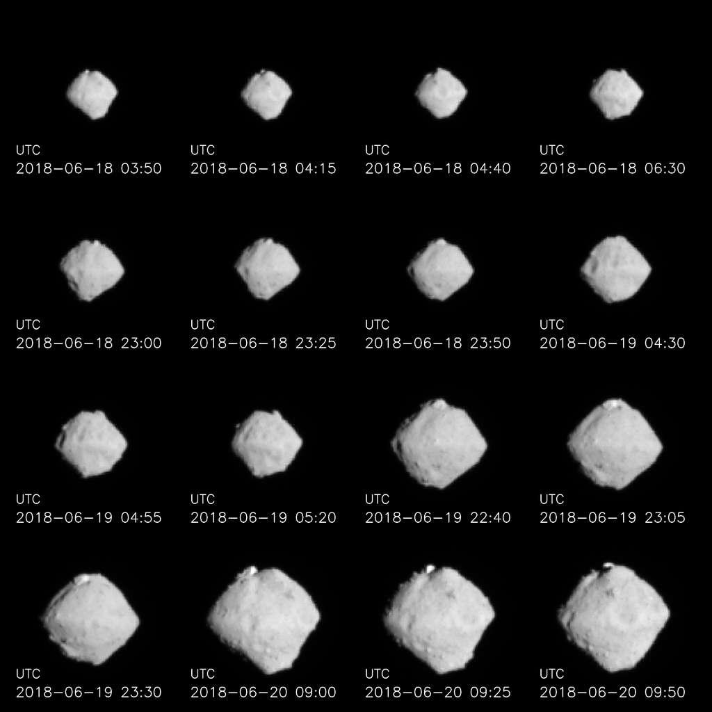 L'astéroïde Ryugu, entre 220 et 100 km de distance. © Jaxa, Université de Tokyo, Kochi University, Rikkyo University, Nagoya University, Chiba Institute of Technology, Meiji University, Aizu University, AIST