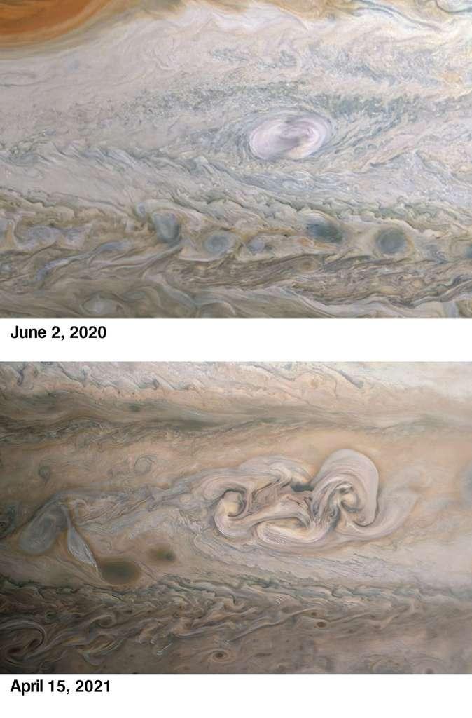 En haut, un aperçu du Clyde Spot l'année dernière. En bas, le visage qu'il montre aujourd'hui. © Kevin M. Gill, Nasa, JPL-Caltech, SwRI, MSSS
