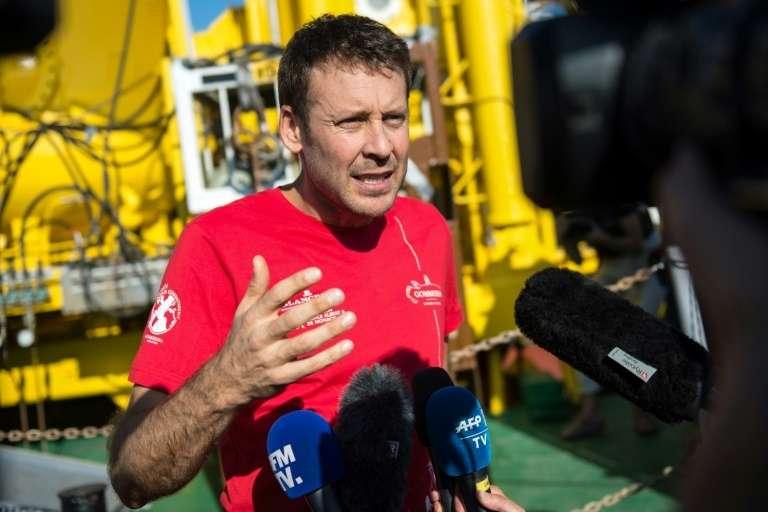 Le photographe naturaliste Laurent Ballesta, lors d'une conférence de presse après avoir passé 28 jour dans un caisson pressurisé à 120 m de profondeur, le 28 juillet 2020 à Marseille. © Clément Mahoudeau, AFP, Archives