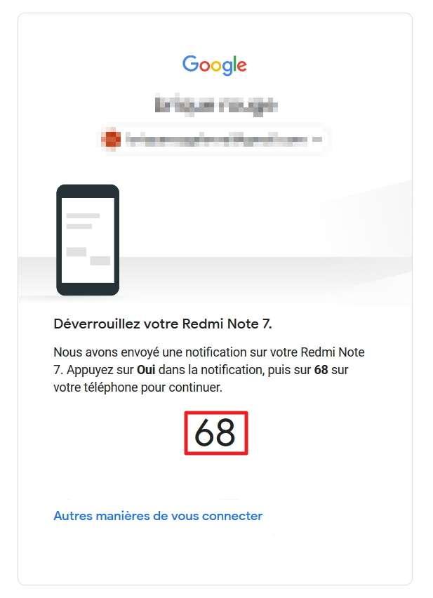Quand vous tentez de vous connecter à un service Google, une page contenant un numéro d'identification apparaît. © Google