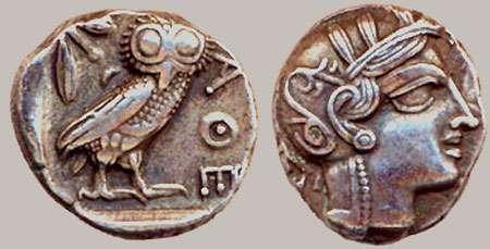 Tétradrachme d'Athena, Ag, Ve av. J.-C.
