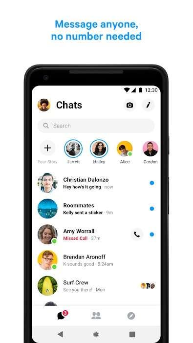 Facebook a décidé d'extraire la partie messagerie de son réseau social pour créer une application distincte : Facebook Messenger © Facebook
