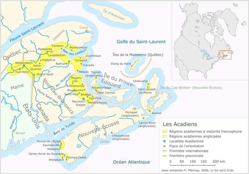 Les Acadiens étaient un peuple en grande partie catholique, et qui parlait le français, au nord-est du Canada. Il est identifié sur cette carte, en jaune vif, les régions acadiennes à majorité francophone, en jaune pâle les régions acadiennes anglophones et, en points bleus, les principales localités acadiennes. © Klaus Mueller, Wikipédia