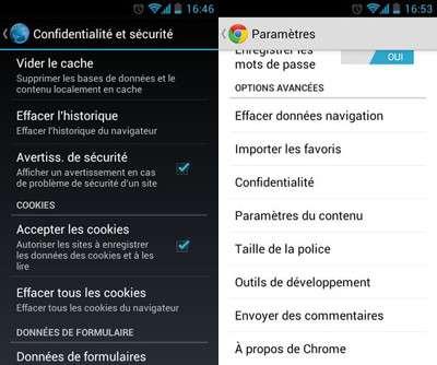 Même si le menu diffère, le résultat est sensiblement le même. Le navigateur par défaut d'Android reste le plus protecteur de votre vie privée en permettant de n'enregistrer que très peu de données. © Guénaël Pépin