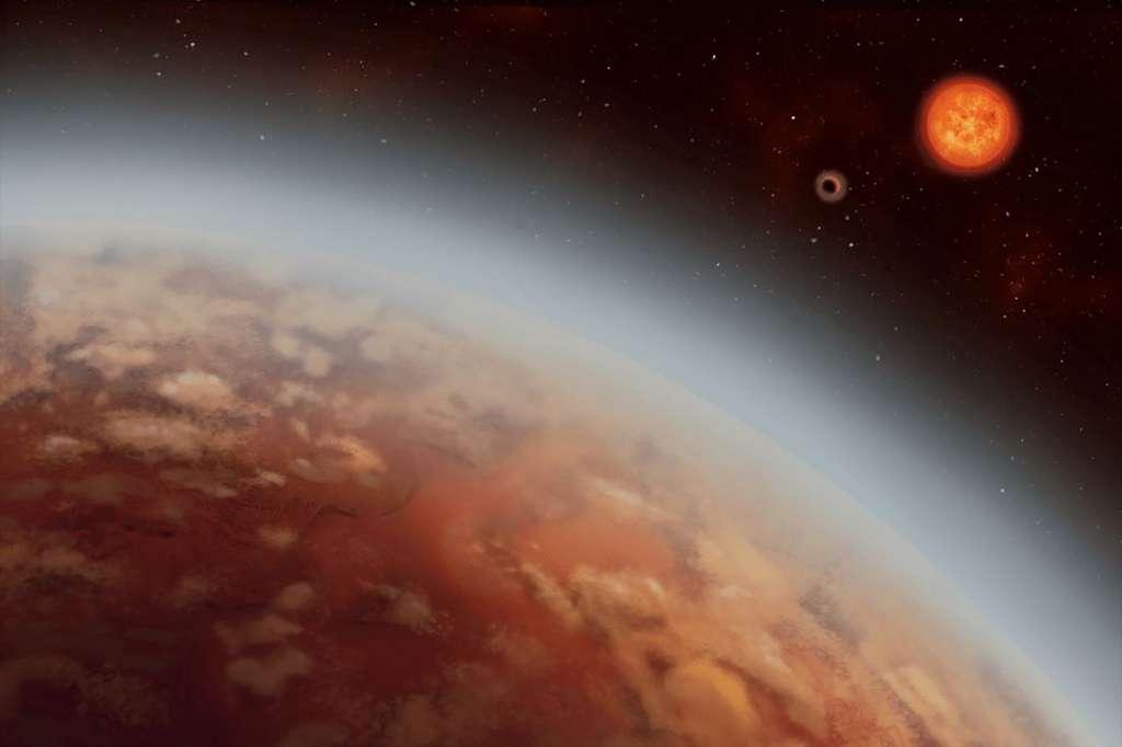 Une autre vue d'artiste de l'exoplanète K2-18b autour de son étoile. © Alex Boersma