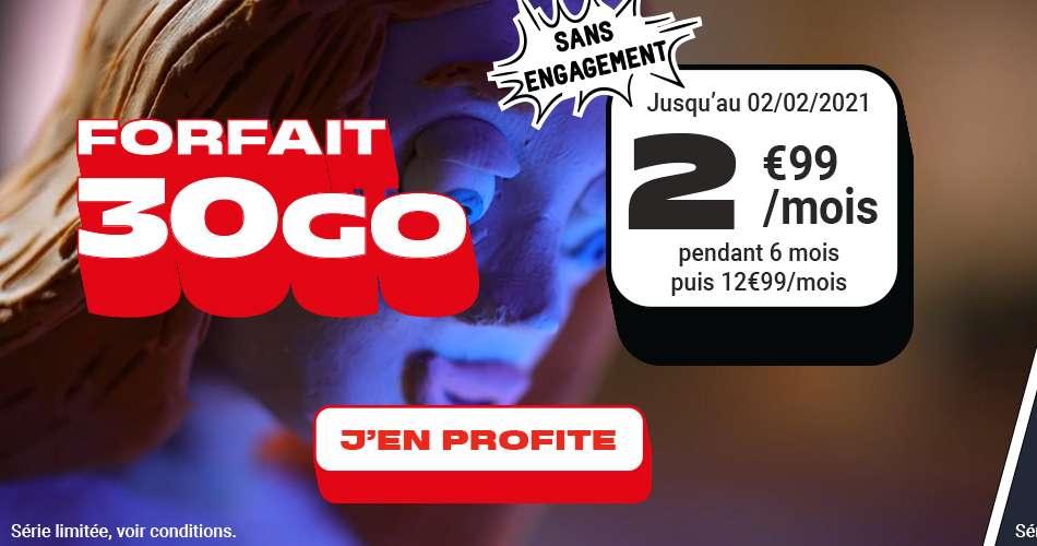 Le forfait 30 Go à seulement 2.99€ / mois © NRJ Mobile