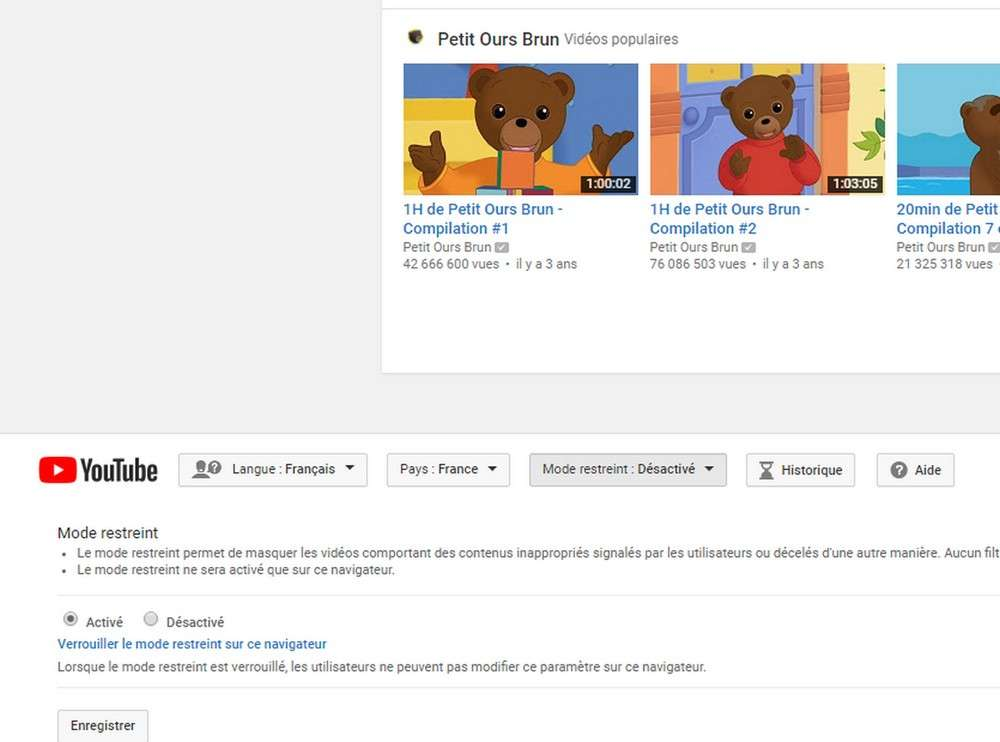 Activer le mode restreint sur YouTube. © Futura