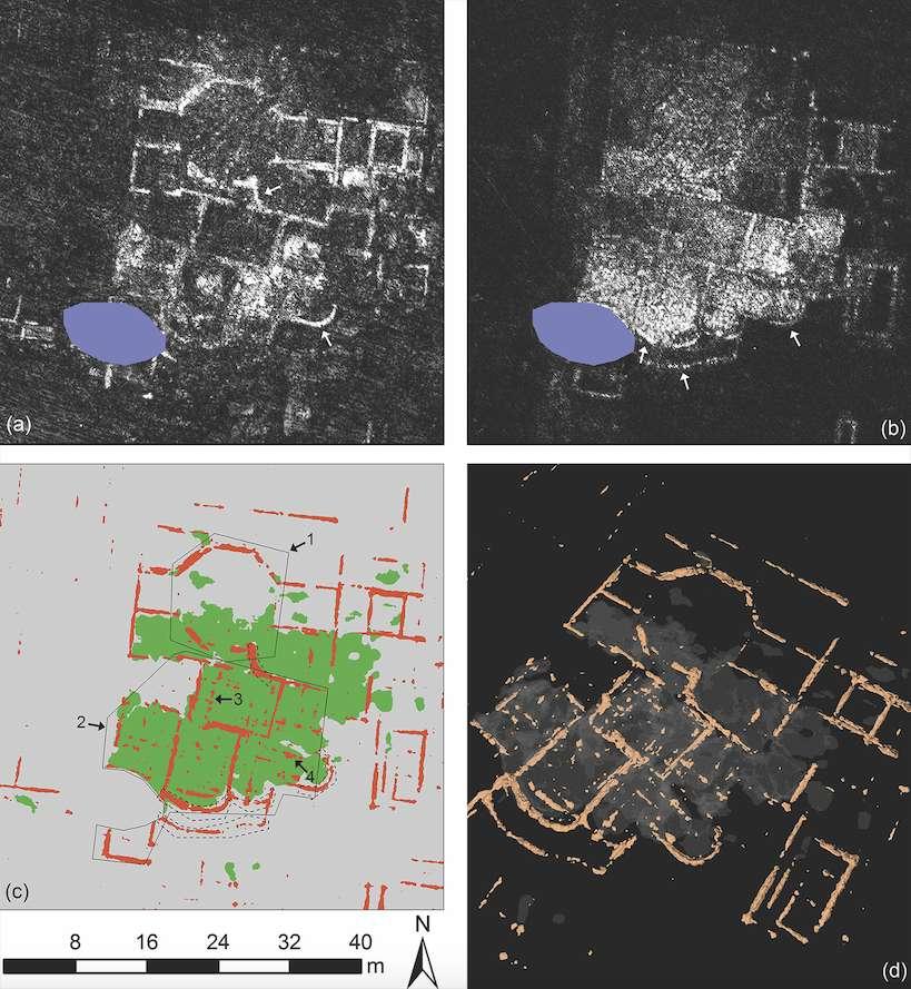 Les bains de Falerii Novi à une profondeur de 0,40-0,45 mètre (a) puis à une profondeur de 1,30 -1,35 mètre (b). Puis le résultat rendu par une détection assistée par ordinateur (c), avec les murs en rouge et les sols en vert. Et enfin, une représentation 3D du lieu. © L. Verdonck et al., Antiquity 2020