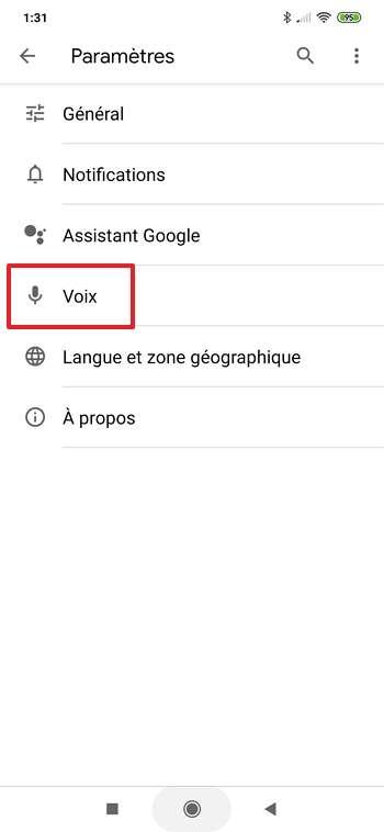 Allez dans les paramètres concernant la voix. © Google Inc.