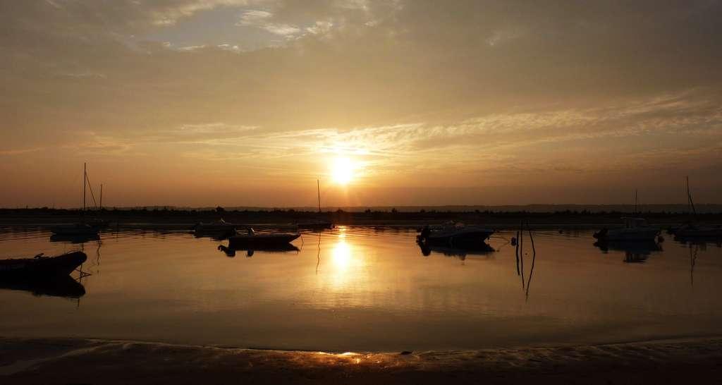 À son lever, comme sur cette photo, le Soleil apparaît clairement jaune. © Martine, Flickr, CC by-nc 2.0